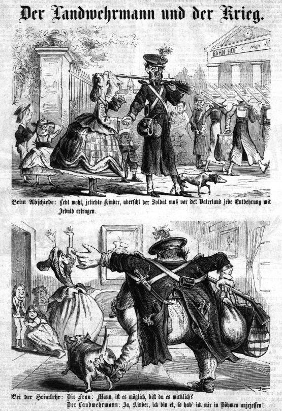 Itävaltalaisessa Kikeriki-pilalehdessä elokuussa 1866 ilmestyi sotilaan lihavoitumisesta kertova pilakuva.